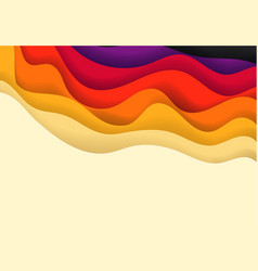 Abstract background with color paper waves vector