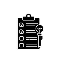 Agenda worksheet black glyph icon vector