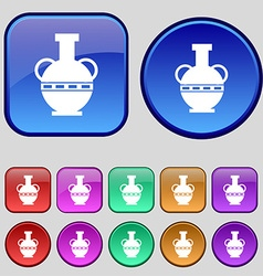 Amphora icon sign A set of twelve vintage buttons vector