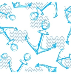 Anchors and waves Seamless pattern vector image