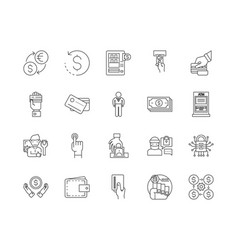 atm line icons signs set outline vector image