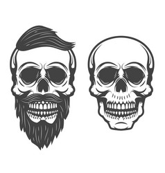 bearded skull isolated on white background vector image