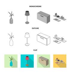 Bedroom and room symbol vector
