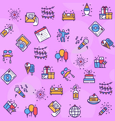 birthday items color linear icons set vector image