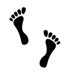 Black human footprints isolated on white vector