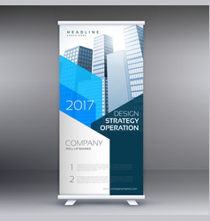 blue company roll up template with skyscrapers vector image