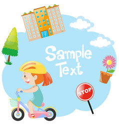 Border design with girl on bike vector