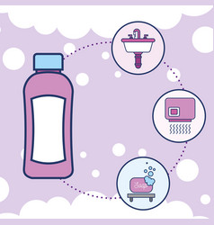 Bottle shampoo washbasin hand dryer and soap vector