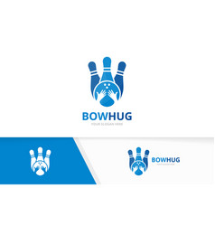 Bowling and hands logo combination game vector
