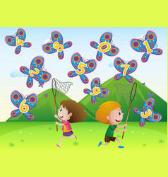 Boy and girl catching butterflies with numbers vector