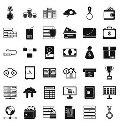 business diagram icons set simple style vector image