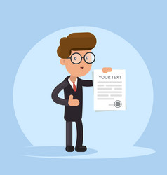 Businessman or manager holding a contract or vector