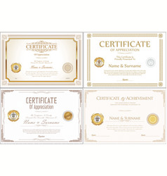 certificate collection retro design vector image