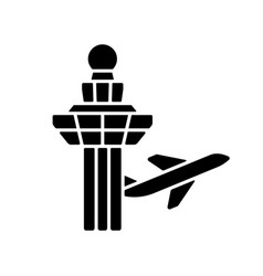 Changi airport control tower black glyph icon vector