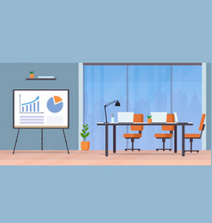 conference table with laptops and chairs empty vector image
