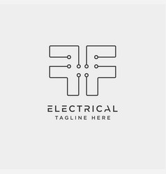 connect or electrical f logo design icon element vector image
