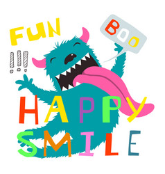 crazy monster funny character and lettering design vector image