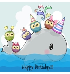 Cute cartoon whale and five owls vector