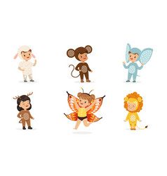 Cute children in costumes animals and insects vector