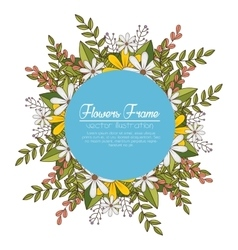 Cute flowers frame background vector