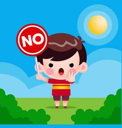 Cute little boy holding no sign vector