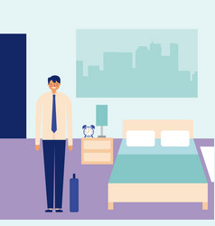 daily activity happy businessman in bedroom vector image