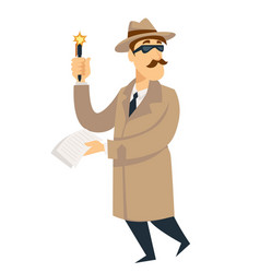 Detective agent man on investigation vector