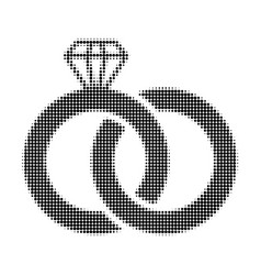 diamond wedding rings halftone dotted icon vector image