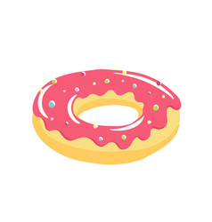 donut with a tasty pink cream sweet dessert nice vector image
