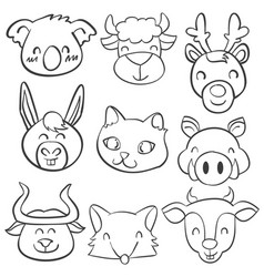doodle of head animal hand draw vector image