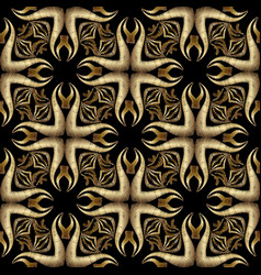 embroidery gold abstract 3d seamless pattern vector image