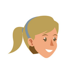 face woman head smile ponytail blonde diadem vector image