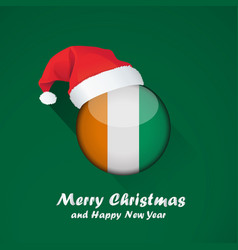 Flag of cote d ivoire merry christmas and happy vector