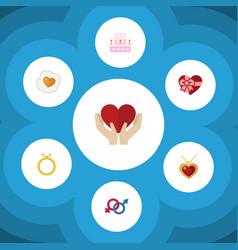 Flat icon heart set of necklace save love vector