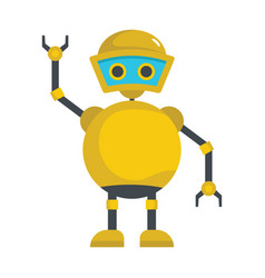 Funny yellow robot icon vector