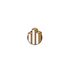 graph bar 3d business logo vector image