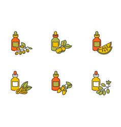 Hair oils rgb color icons set natural jojoba vector
