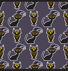 halloween black cat and owl seamless pattern vector image