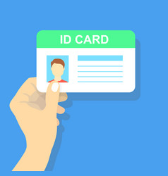Hand holding the id card vector