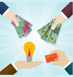hands giving card or money for bulb symbol of vector image