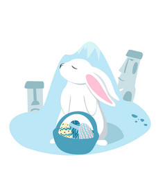 happy easter collection with eggs and rabbits vector image