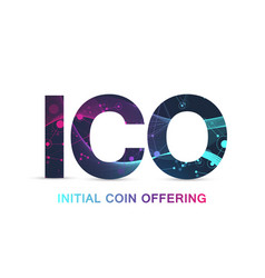 ico initial coin offering infographic web banner vector image