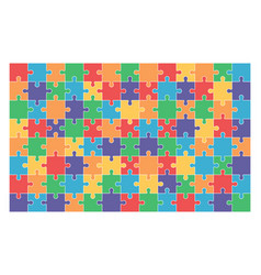 Jigsaw puzzle set of 104 colorful pieces vector