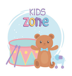 Kids zone teddy bear elephant drum and toys vector