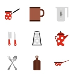 Kitchenware icons set flat style vector