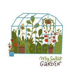 Lettering print - my secret garden glass vector