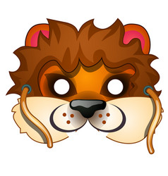lion mask with strings drawn in cartoon style vector image