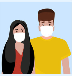 Man and woman in medical masks protect themselves vector