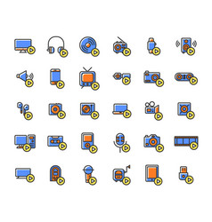 media devices and players filled outline icon set vector image