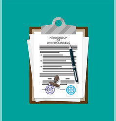 memorandum of understanding document vector image